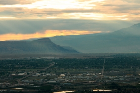View of Grand Junction at sunrise, Colorado National Monument, Colorado.