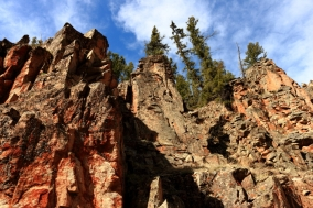 Cliff face in the San Juan National Forest, Colorado.