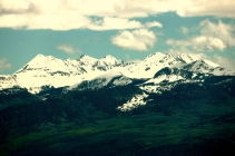Mountain Range in San Juan National Forest, as seen from Mesa Verde, Colorado.